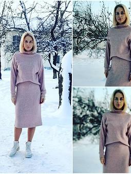 Работа с названием Пудровый костюм января: юбка и пуловер