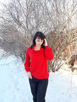 Работа с названием Красный пуловер