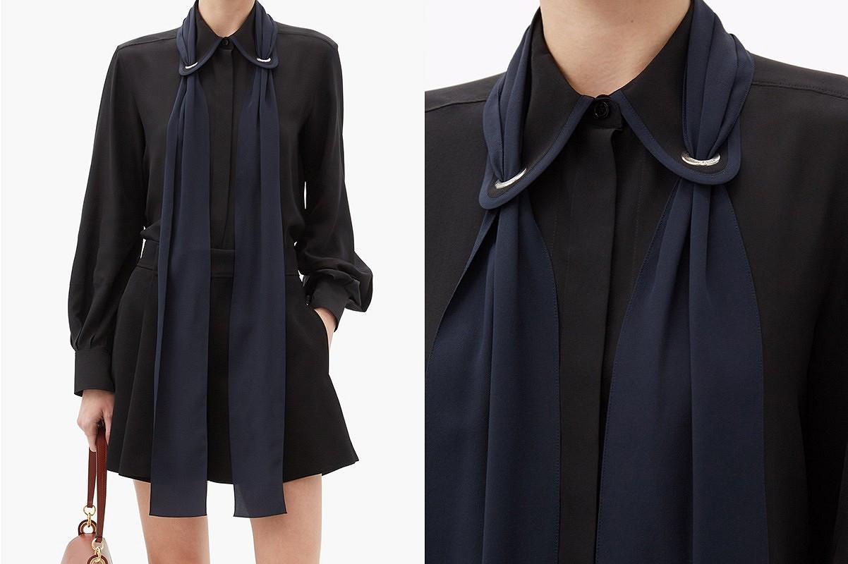 Вещь дня: блузка-рубашка слюверсами ишарфом отChloé