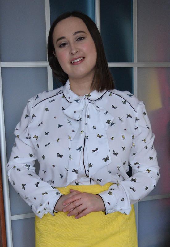 Блузка скантами исъемным бантом от RiRi1990