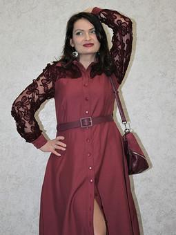 Работа с названием Платье цвета Тawny Port с кружевными вставками #эскизбурда