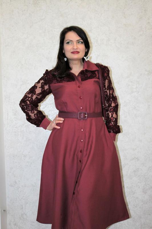 Платье цвета Тawny Port скружевными вставками #эскизбурда от -OlgaBird-