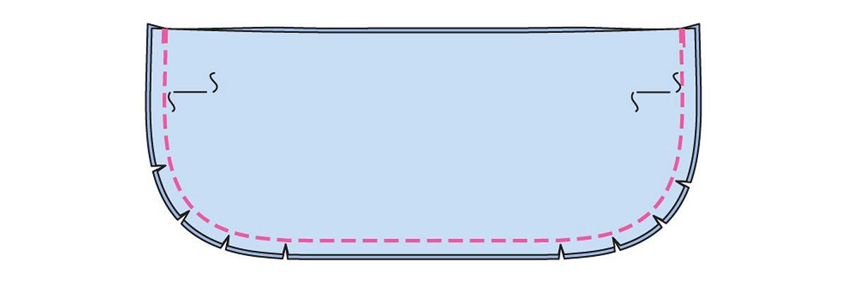 Как выполнить широкую отрезную планку понизу изделия