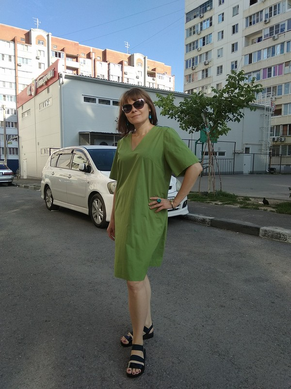 Платье-рубашка цвета лайм от helen4ik-elen4ik