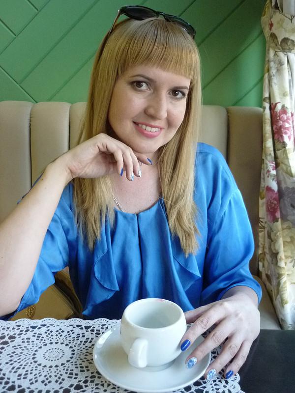 Синяя ибежевая блуза своланом от MilAnna
