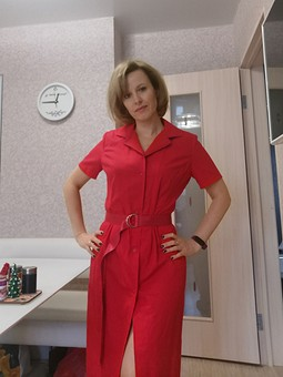 Работа с названием Красное платье-рубашка (Бурда 2/2001)