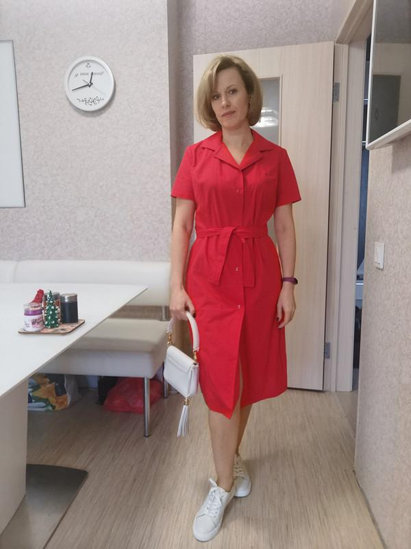 Красное платье-рубашка (Бурда 2/2001) от LenokA
