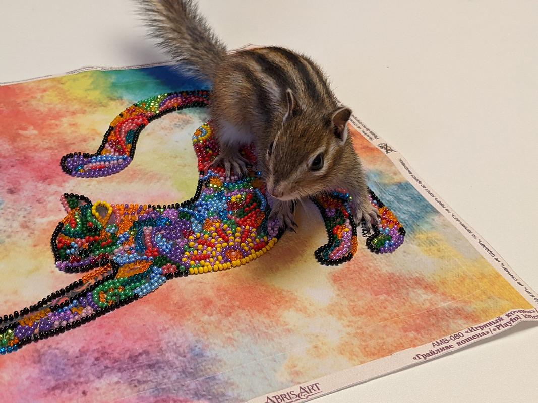 Вышивка бисером «Игривый котёнок» длясумки-шопера от Светлана pseta_