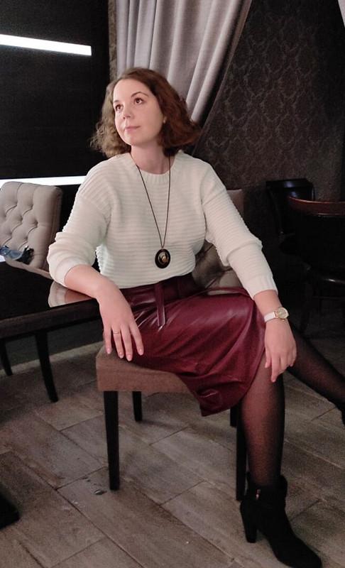 Кожаная юбка цвета «Бордо» от valerida