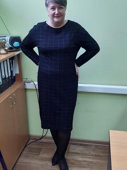 Работа с названием Платье в клетку по выкройке пуловера