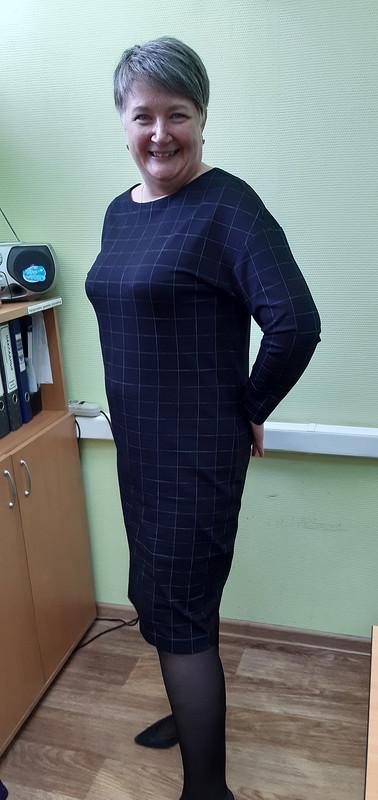 Платье вклетку повыкройке пуловера от OtKati
