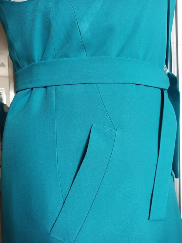 Удлиненный жилет изгабардина бирюзового оттенка от tvess