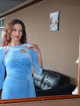 Работа с названием Небесно-голубое бархатное платье