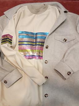 Работа с названием Блестящее дополнение к комплекту: пуловер