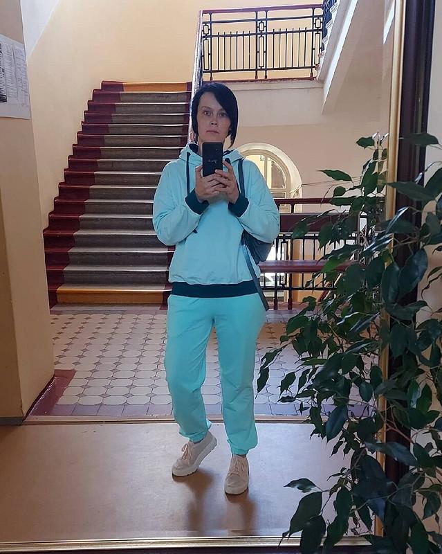 Трикотажный костюм цвета Тиффани от Katherina_Belyaeva