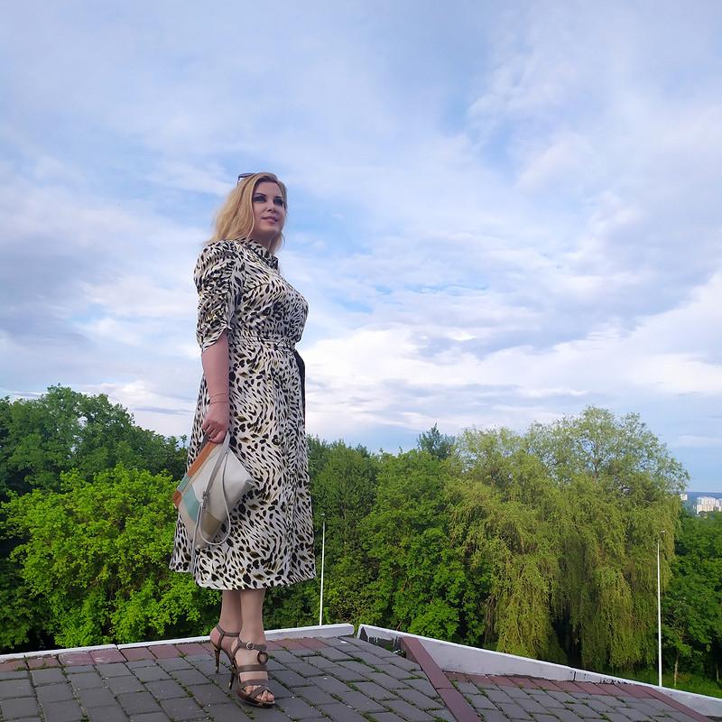 Моя «Оливка» - Платье шемизье спышными рукавами от MarSel
