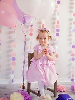 Работа с названием Детское розовое платье в полоску