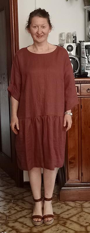 Льняное платье свободного кроя от jmrusit