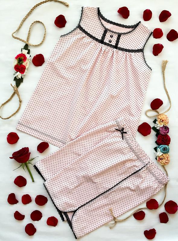 Летняя пижама длядевочки «Романтика вгорошек» от masmar.ru