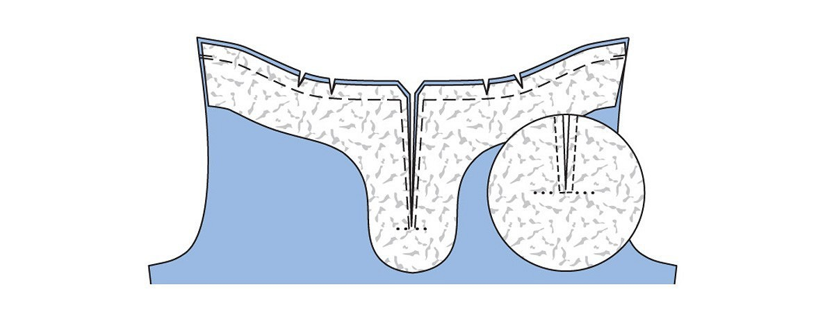 Обработка разреза спинки обтачкой визделии изтонкого трикотажа