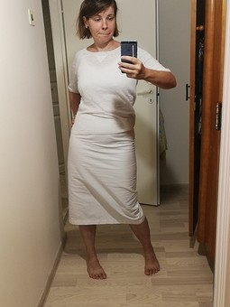 Работа с названием Белая юбка-карандаш