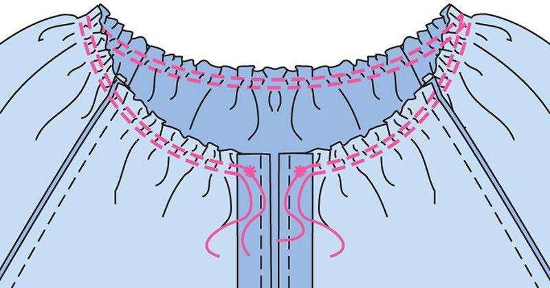 Акцент навырез: окантовка горловины бейкой цельнокроеной сзавязками
