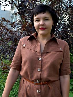 Работа с названием Терракотовое льняное платье