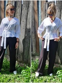 Работа с названием Блуза-рубашка белая и брюки на резинке