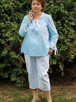 Работа с названием  Блуза из поплина с завязками