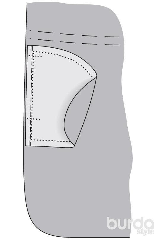 Карман в шве юбки полусолнце