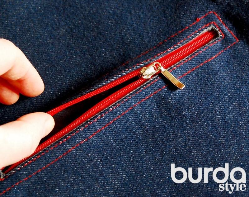 Шьем прорезной карман с застежкой на молнию