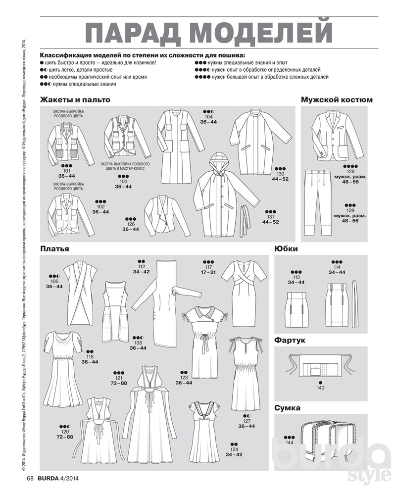 Burda 2014: все технические рисунки