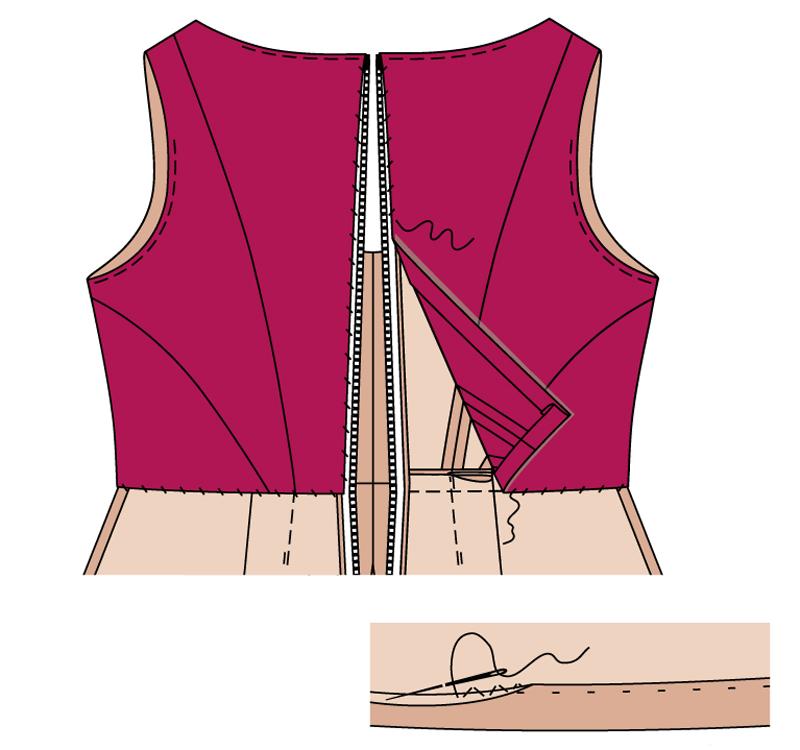 Как пришить юбку к платью