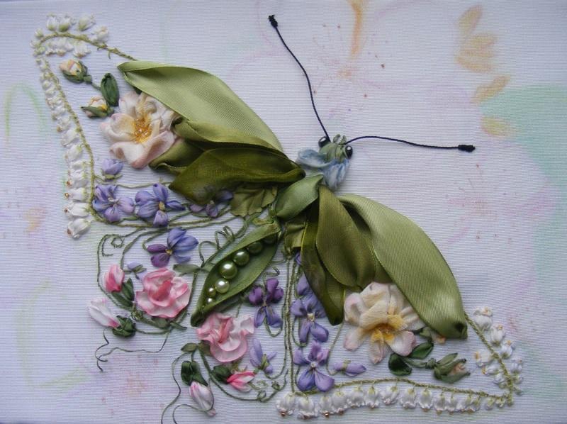Вышивки из шелковых лент фото