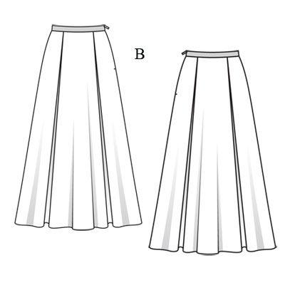 технический рисунок юбка в складку