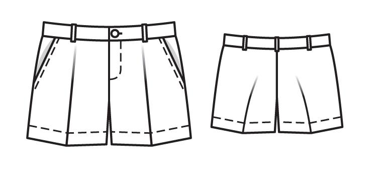 Белоснежные шорты со складками-стрелками, боковыми карманами, шлевками на поясе. 104, 110, 116, 122, 128. Выкройка