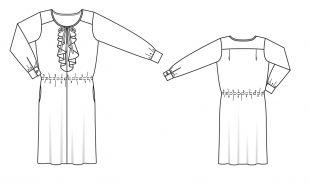 Платье с жабо (темная бирюза)
