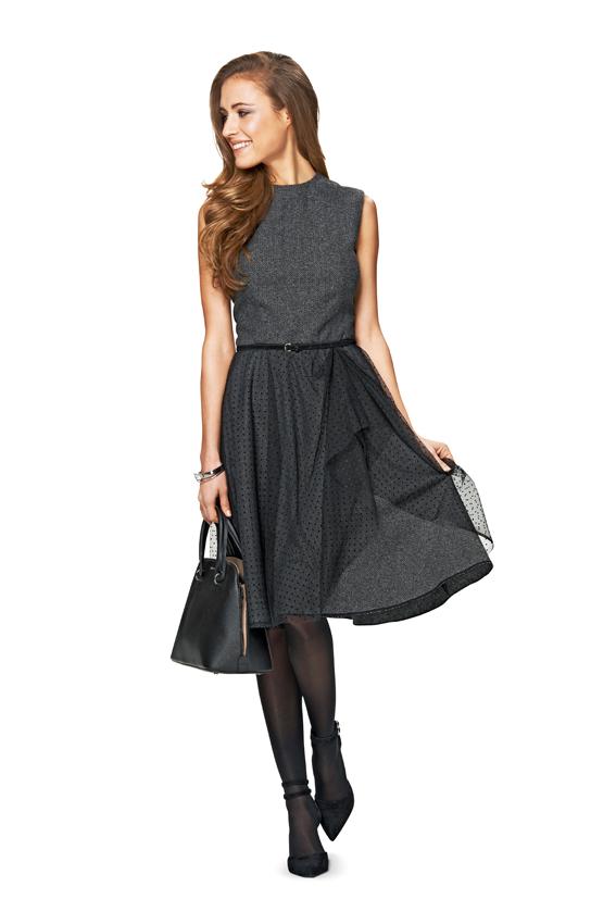 Платье с расклешенной юбкой для полных