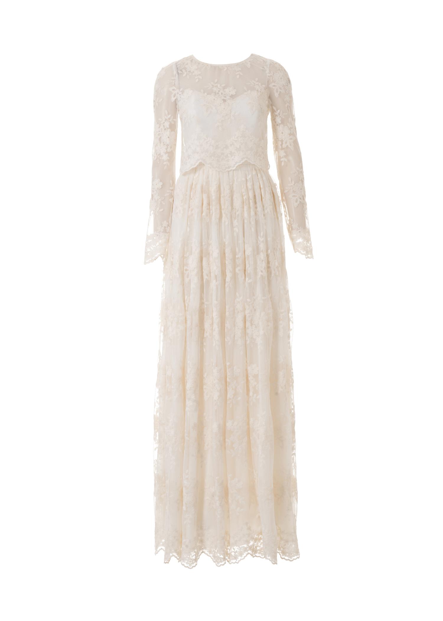 Выкройка платья с рукавами и длинной юбкой