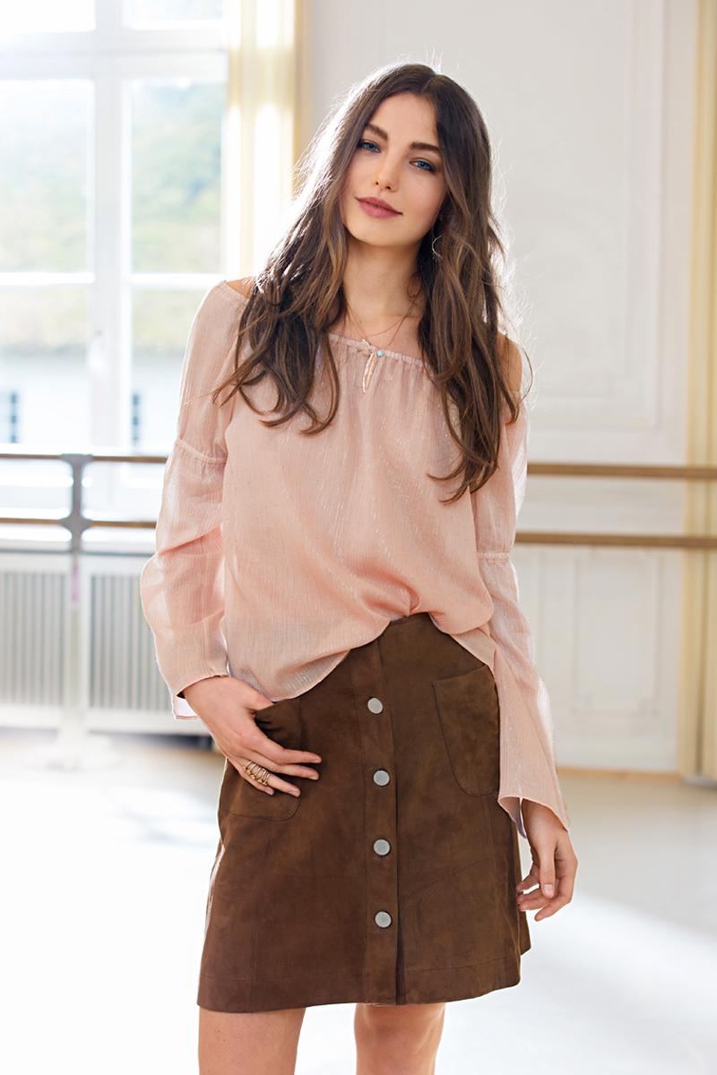 Блузка к юбке а-силуэта