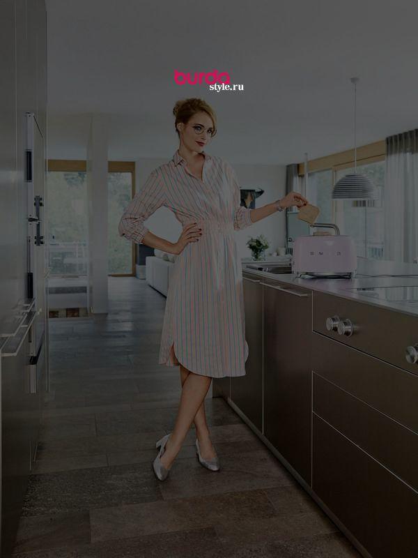 Платье-рубашка - выкройка № 101 A из журнала 2/2019 Burda – выкройки платьев на Burdastyle.ru