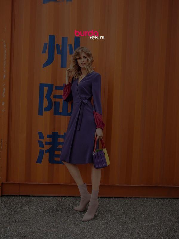 Платье с запахом - выкройка № 117 из журнала 2/2019 Burda – выкройки платьев на Burdastyle.ru