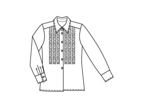 Базовые модели. Не указан. Узкие рюши вмиг придали полосатой блузке игривый... Выкройка