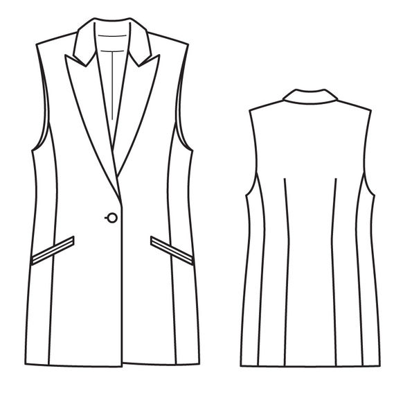 Выкройка. Удлиненный жилет в стиле классического блейзера отличается коротким... Сложность. Женский
