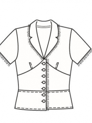 Журнал. Блузка из прохладного льна украшена лентой с... Коллекция. Не указан. Выкройка