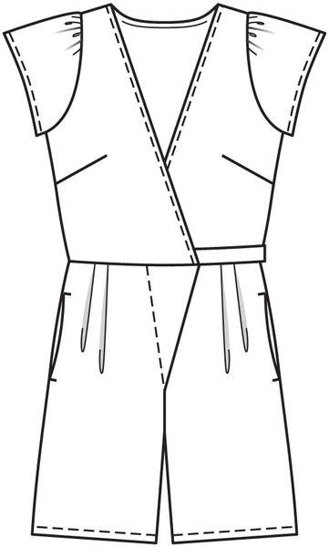 Коллекция. Представляем вам более открытый вариант комбинезона - с шортами. 129 A. Отдых. Выкройка