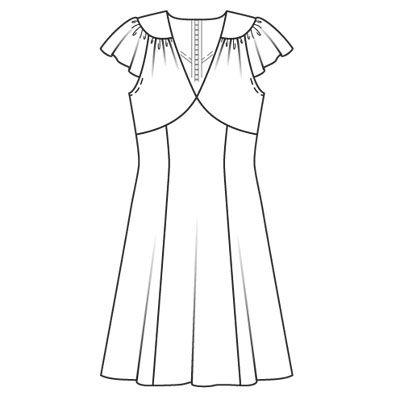 Покрой этого воздушного шифонового платья напоминает моду... Журнал. Коллекция. 116 B. Отдых. Не указан. Выкройка