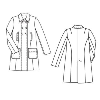 Слегка расклешенное двубортное пальто с... Выкройка к данной модели отсутствует. Сложность. Женский