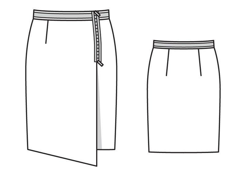 Выкройка узкой юбки на запахе