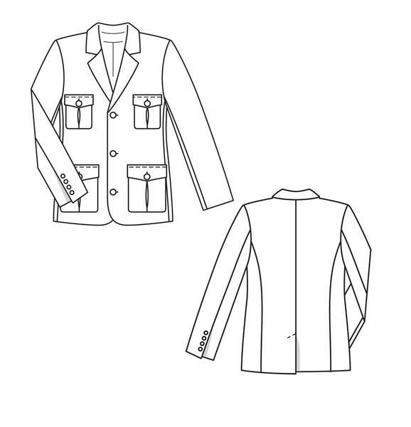 Коллекция. Выполненный из мягкой ткани элегантный пиджак с лацканами, скругленными... Выкройка. Мужской
